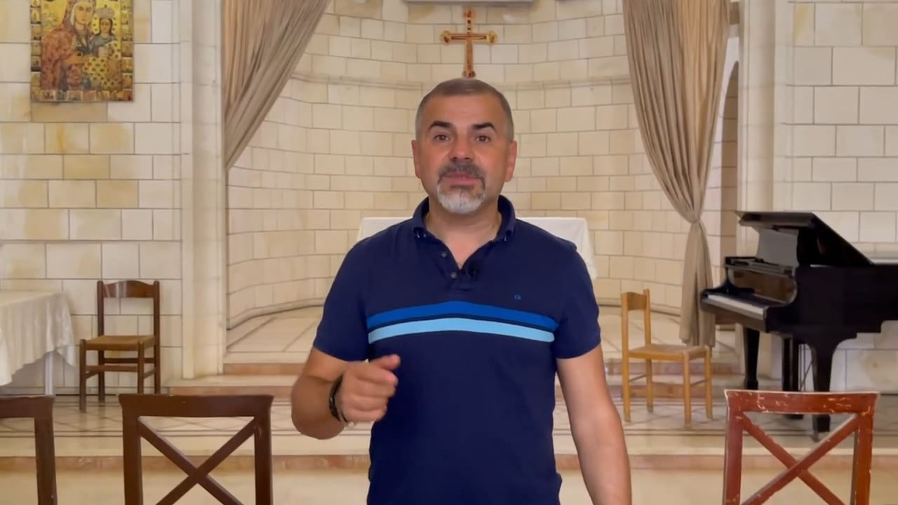 Pastor Israel at the Church of St. Gabriel in Nazareth
